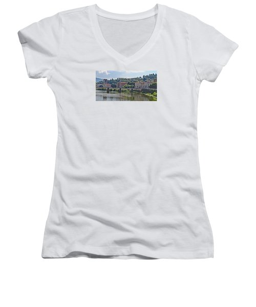 Arno River And Bridge Women's V-Neck T-Shirt (Junior Cut) by Allan Levin