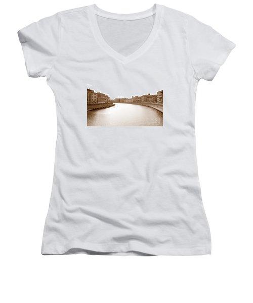 Arno River In Pisa Women's V-Neck