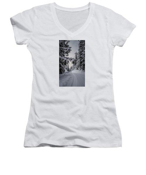 Around The Bend Women's V-Neck T-Shirt (Junior Cut) by Albert Seger