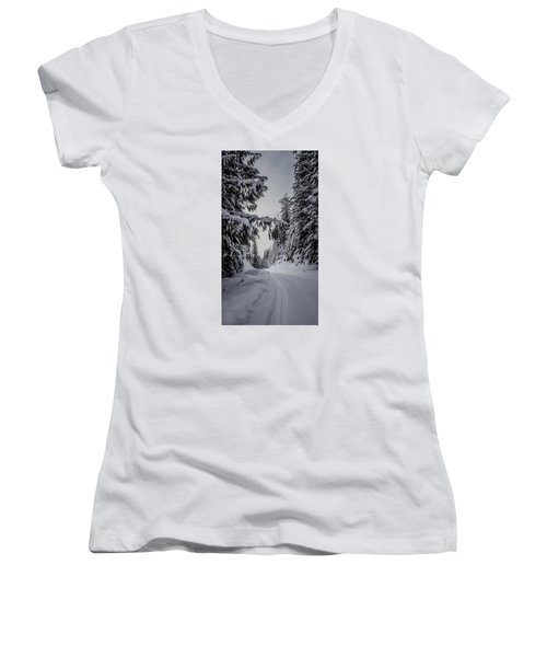Around The Bend Women's V-Neck T-Shirt