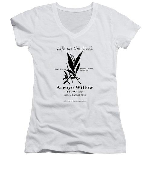 Arroyo Willow - Black Text Women's V-Neck