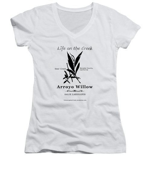 Arroyo Willow - Black Text Women's V-Neck (Athletic Fit)