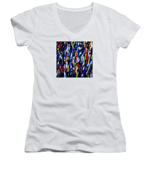 Art Abstract Painting Modern Color Women's V-Neck (Athletic Fit)