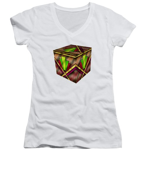 Art Deco 13 Cube Women's V-Neck (Athletic Fit)
