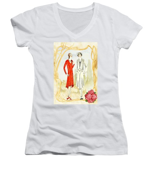 Art Deco Fashion Girls Women's V-Neck