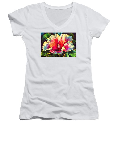 Art Floral Interior Design On Canvas Women's V-Neck T-Shirt (Junior Cut) by Catherine Lott