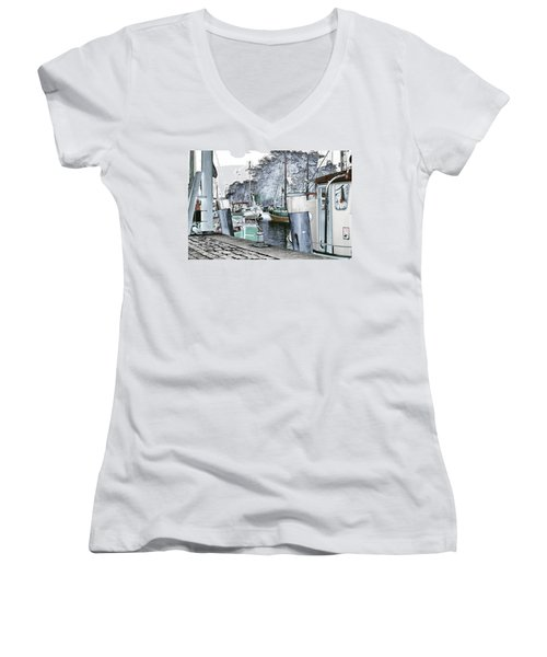 Art Print Boat 2 Women's V-Neck (Athletic Fit)