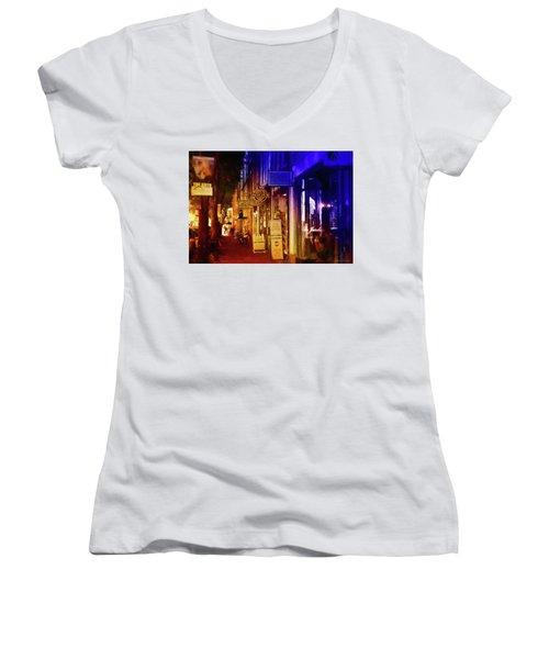 Art Row - Fredericksburg, Virginia Women's V-Neck T-Shirt (Junior Cut) by Glenn Gemmell