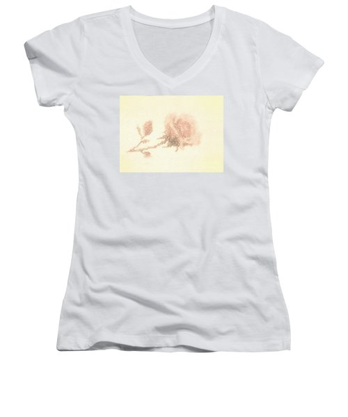Women's V-Neck T-Shirt (Junior Cut) featuring the photograph Artistic Etched Rose by Linda Phelps