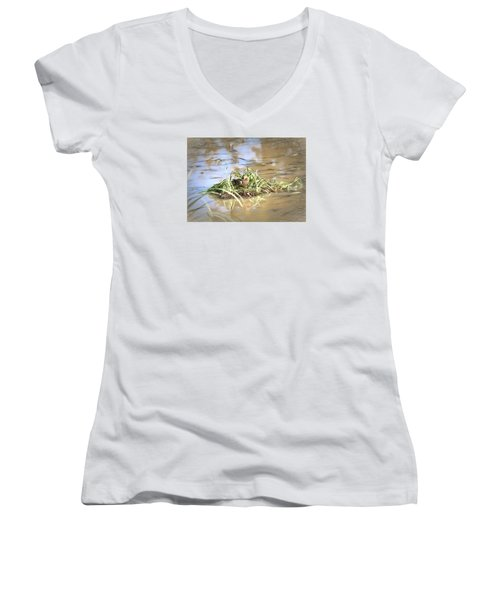 Artistic Lifeguard Women's V-Neck T-Shirt (Junior Cut) by Leif Sohlman