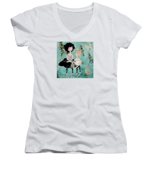 Artsy Girls Women's V-Neck T-Shirt (Junior Cut) by Diana Boyd