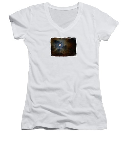 Women's V-Neck T-Shirt (Junior Cut) featuring the photograph Artsy Moon by Lila Fisher-Wenzel