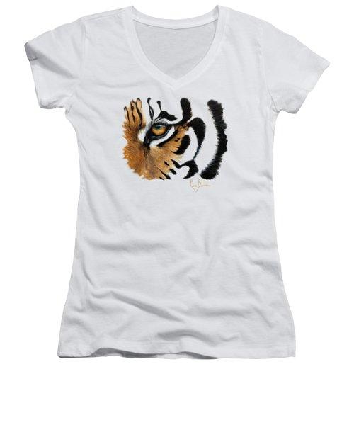 Tiger Eye Women's V-Neck T-Shirt (Junior Cut)