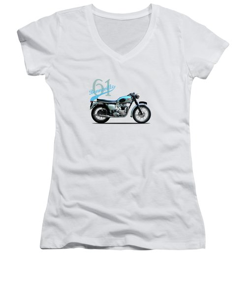 Triumph Bonneville Women's V-Neck T-Shirt (Junior Cut) by Mark Rogan
