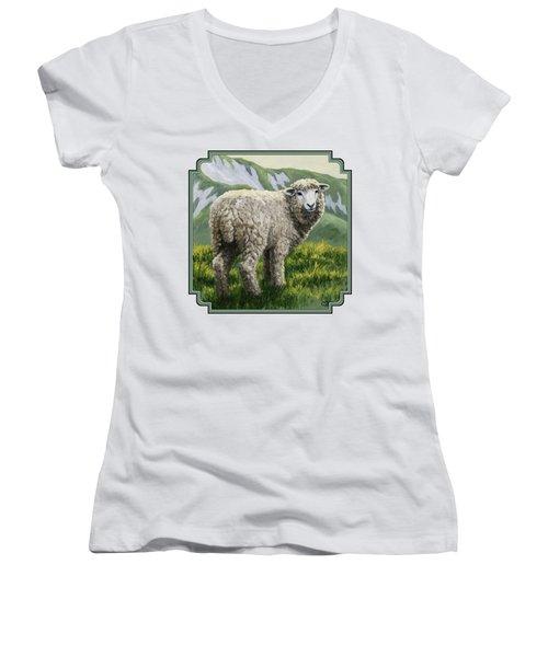 Highland Ewe Women's V-Neck T-Shirt (Junior Cut) by Crista Forest