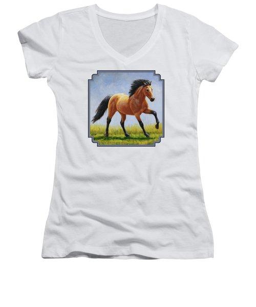 Buckskin Horse - Morning Run Women's V-Neck (Athletic Fit)