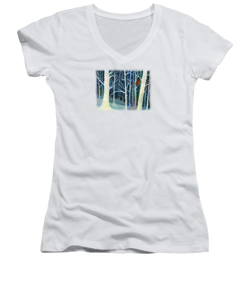 Women's V-Neck T-Shirt (Junior Cut) featuring the painting Quiet Moment by Hailey E Herrera