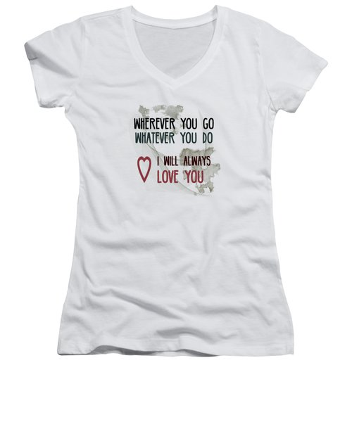 Women's V-Neck T-Shirt (Junior Cut) featuring the digital art Wherever You Go by Jutta Maria Pusl