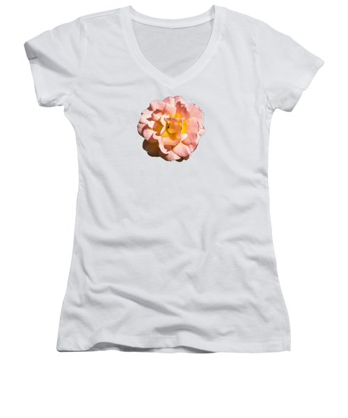 Peach Rose Women's V-Neck T-Shirt (Junior Cut) by Brian Manfra
