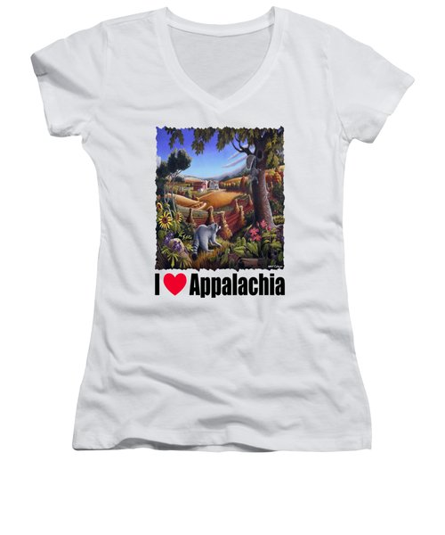 I Love Appalachia - Coon Gap Holler Country Farm Landscape 1 Women's V-Neck T-Shirt