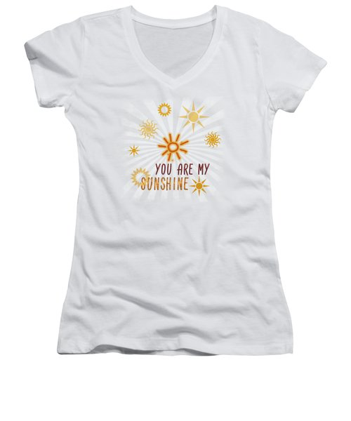 You Are My Sunshine Women's V-Neck T-Shirt (Junior Cut) by Jutta Maria Pusl