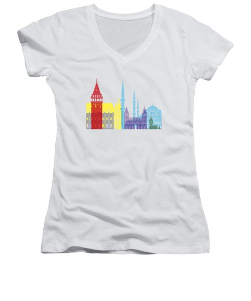Istanbul Skyline Pop Women's V-Neck (Athletic Fit)