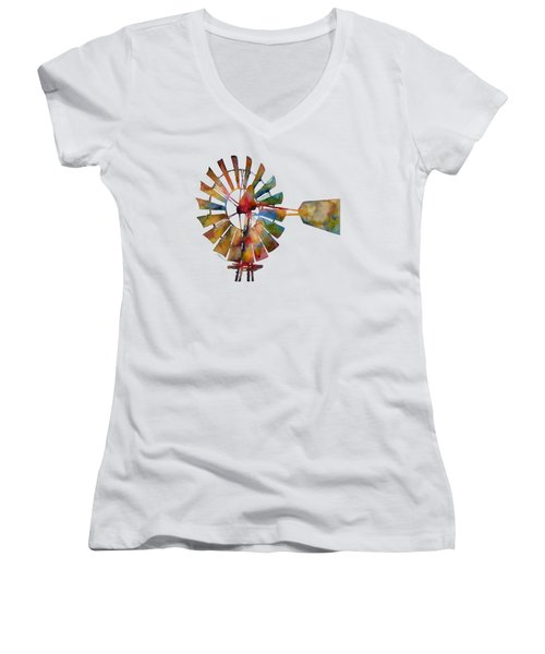 Women's V-Neck T-Shirt (Junior Cut) featuring the painting Windmill by Hailey E Herrera