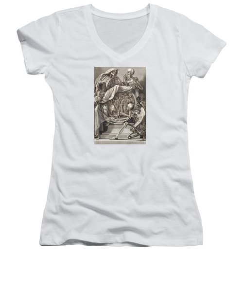 Bernardino Genga - Allegorical Emblems Of Death Women's V-Neck (Athletic Fit)
