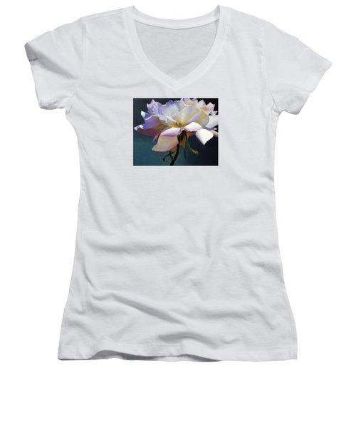 White Rose Of Eden Women's V-Neck (Athletic Fit)
