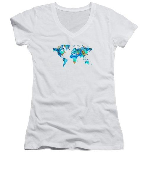 World Map 22 Art By Sharon Cummings Women's V-Neck