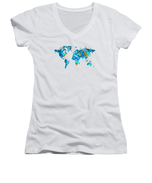 World Map 22 Art By Sharon Cummings Women's V-Neck T-Shirt
