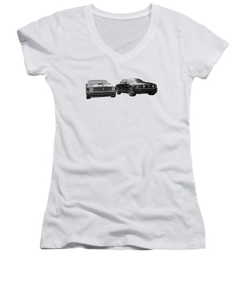 Mustang Buddies In Black And White Women's V-Neck