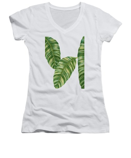 Women's V-Neck T-Shirt (Junior Cut) featuring the painting Rainforest Resort - Tropical Banana Leaf  by Audrey Jeanne Roberts
