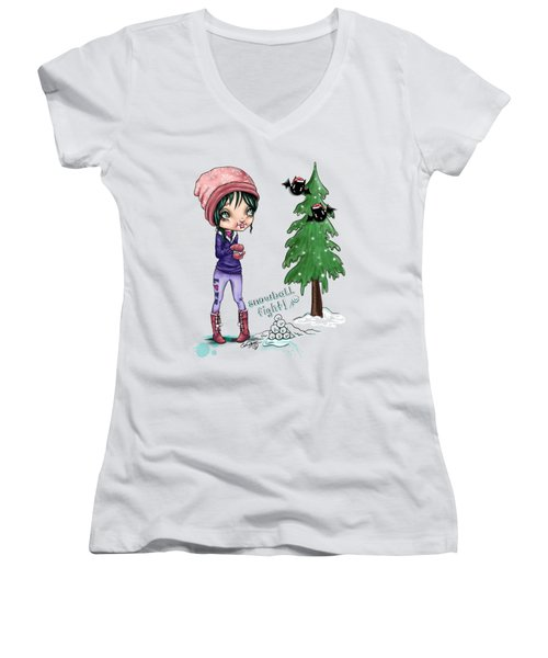Snowball Fight Women's V-Neck (Athletic Fit)