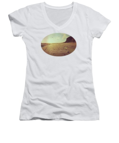 Forever Summer 9 Women's V-Neck T-Shirt (Junior Cut) by Linda Lees