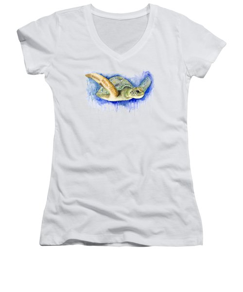 Turtle Women's V-Neck T-Shirt (Junior Cut) by Esther Torres trujillo