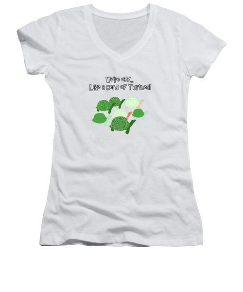 Herd Of Turtles Pattern Women's V-Neck T-Shirt