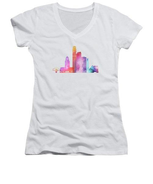 Los Angeles Landmarks Watercolor Poster Women's V-Neck T-Shirt (Junior Cut)