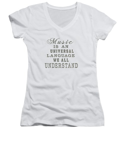 Music Is An Universal Language Typography Women's V-Neck
