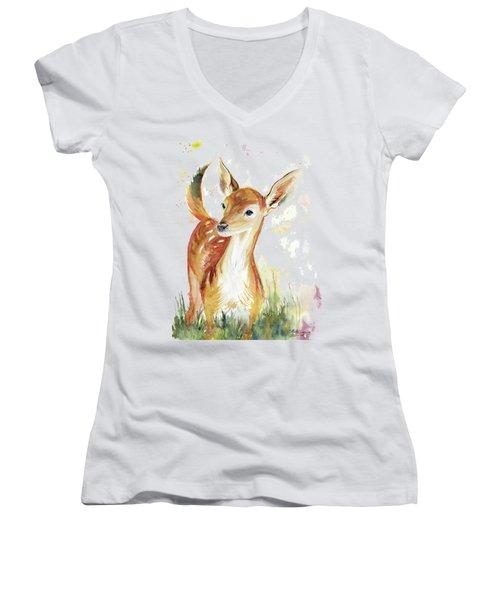 Little Deer Women's V-Neck T-Shirt (Junior Cut) by Melly Terpening