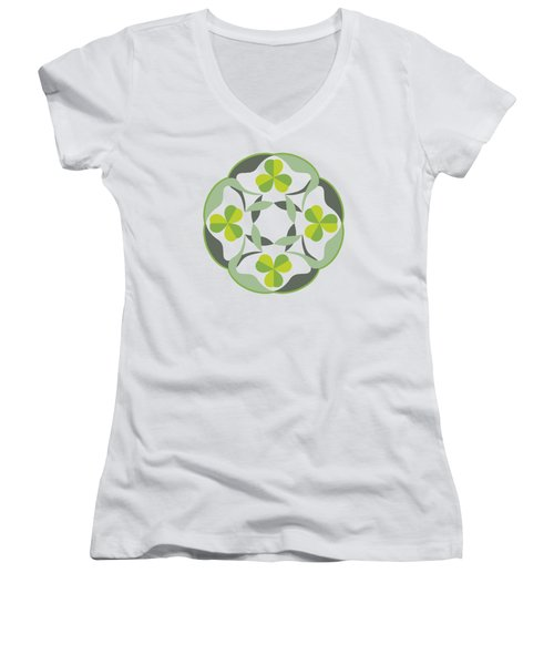 Celtic Inspired Shamrock Graphic Women's V-Neck T-Shirt (Junior Cut) by MM Anderson