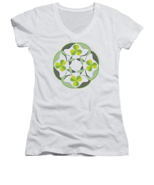 Celtic Inspired Shamrock Graphic Women's V-Neck