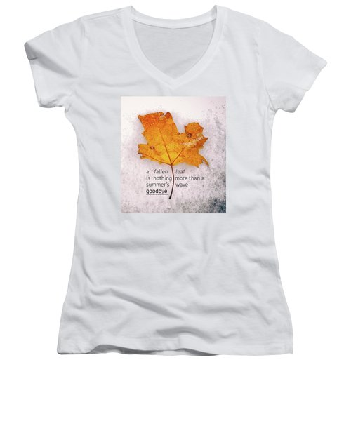 Fallen Leaf On Dirty Ice With Quote Women's V-Neck T-Shirt