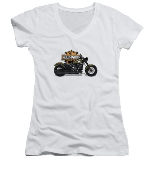 Women's V-Neck T-Shirt (Junior Cut) featuring the digital art 2017 Harley-davidson Softail Slim S Motorcycle With 3d Badge Over Vintage Background  by Serge Averbukh