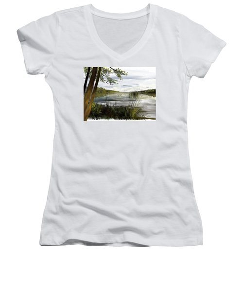 Quiet Day By Lake Women's V-Neck