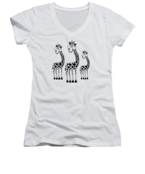 Fudge The Giraffe Women's V-Neck T-Shirt (Junior Cut) by Lucia Stewart