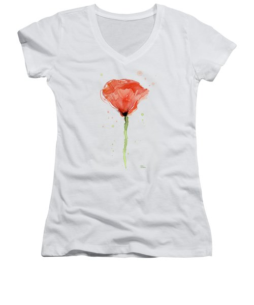 Abstract Red Poppy Watercolor Women's V-Neck (Athletic Fit)
