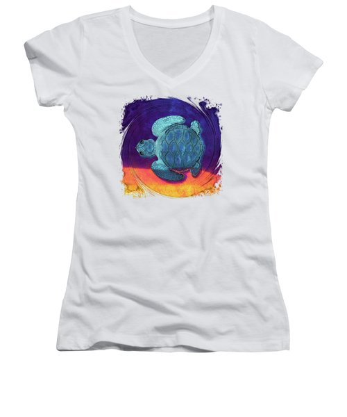 Sea Surfing Women's V-Neck T-Shirt (Junior Cut) by Di Designs