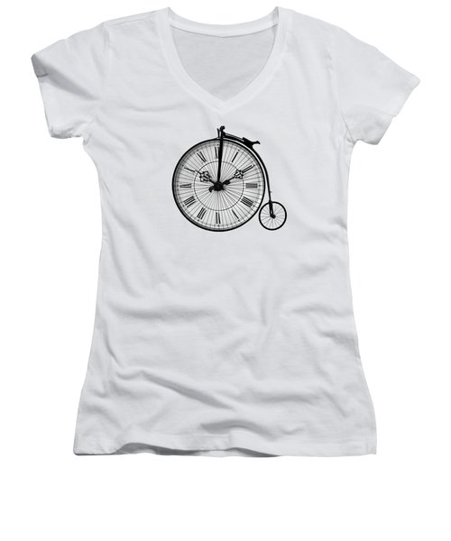 Time To Ride Penny Farthing Women's V-Neck T-Shirt