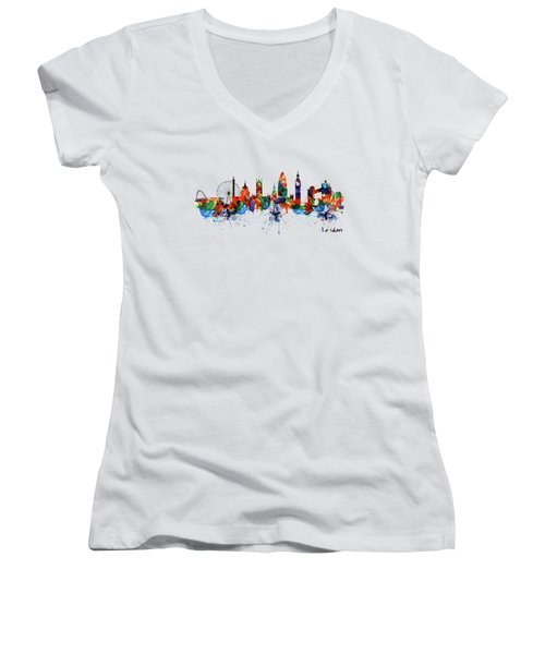 London Watercolor Skyline Silhouette Women's V-Neck (Athletic Fit)